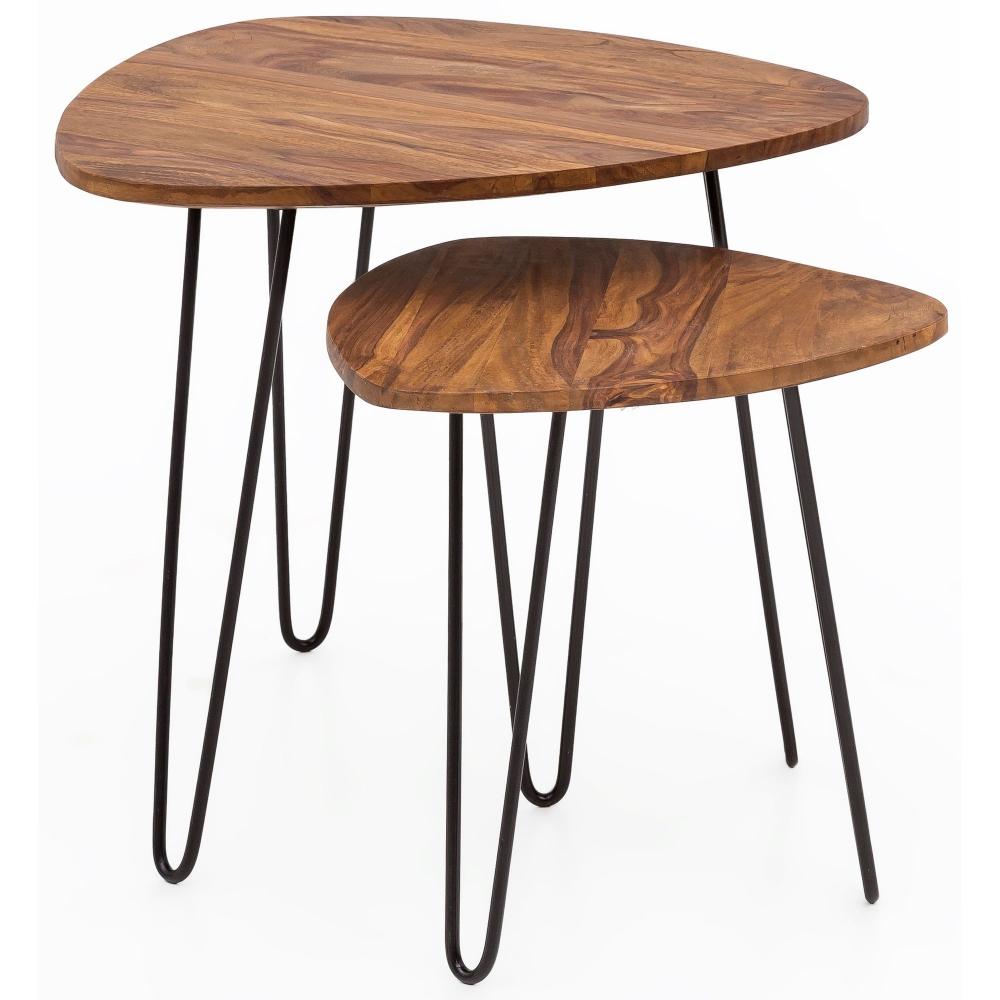Odkládací stolek Nazli (SADA 2 ks), 60 cm, masiv Sheesham
