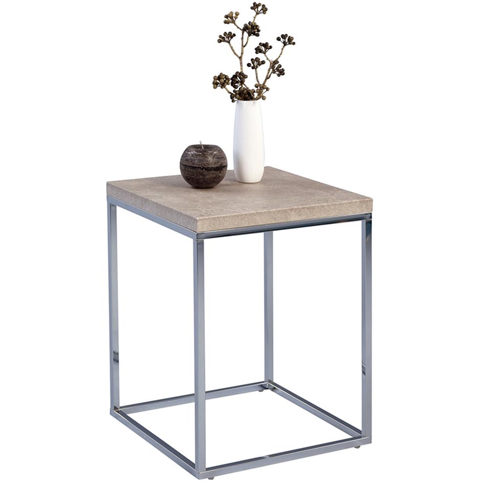 Odkládací stolek Olaf, 40 cm, beton/chrom