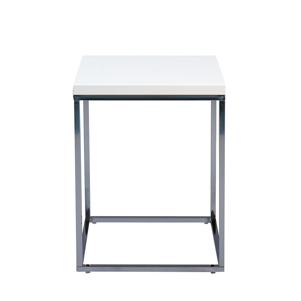 Odkládací stolek Olaf, 40 cm, bílá/chrom