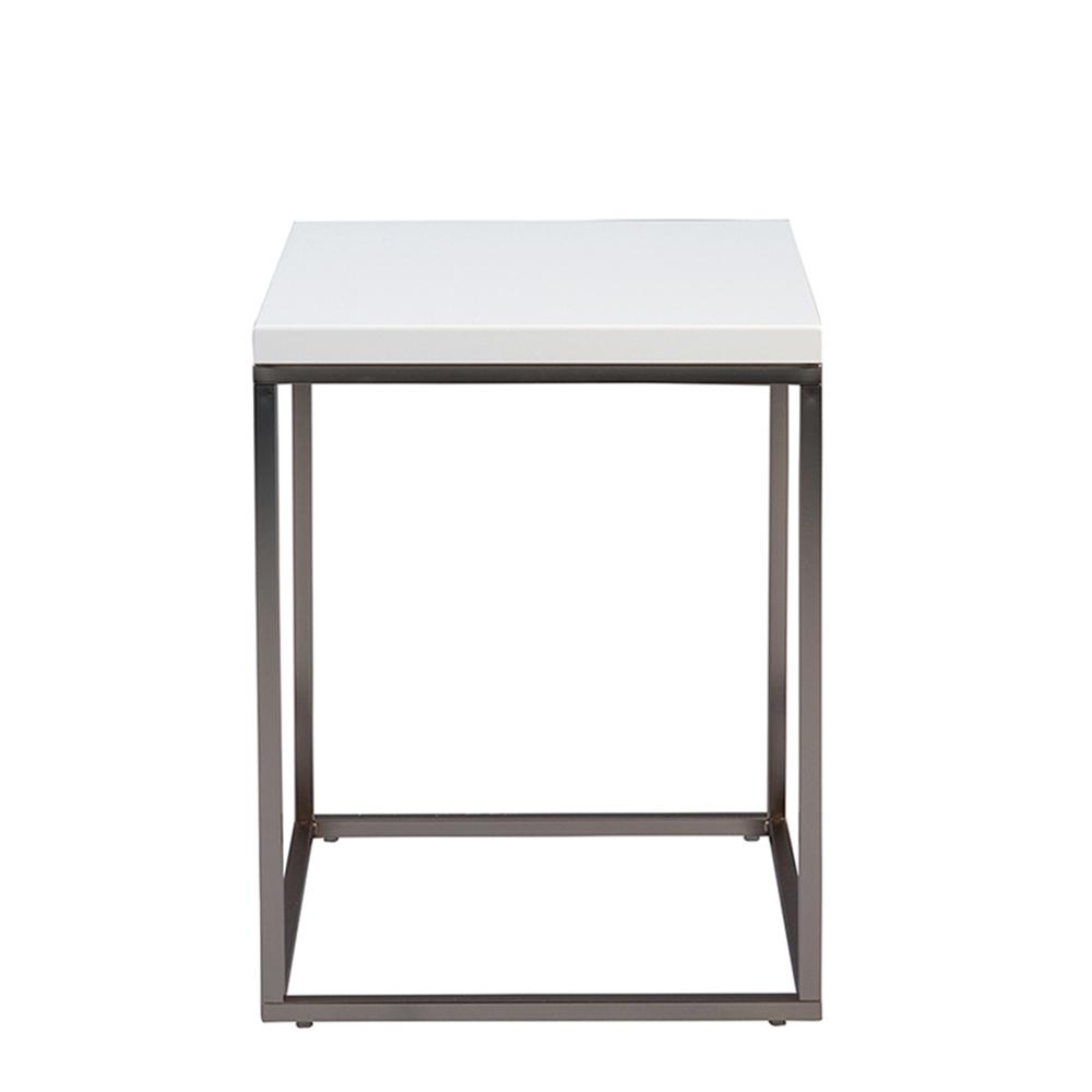 Odkládací stolek Olaf, 40 cm, bílá/nerez