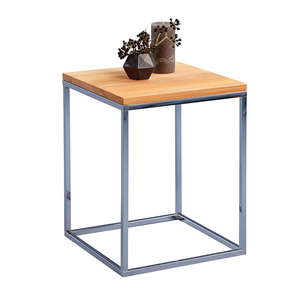 Odkládací stolek Olaf, 40 cm, buk/chrom