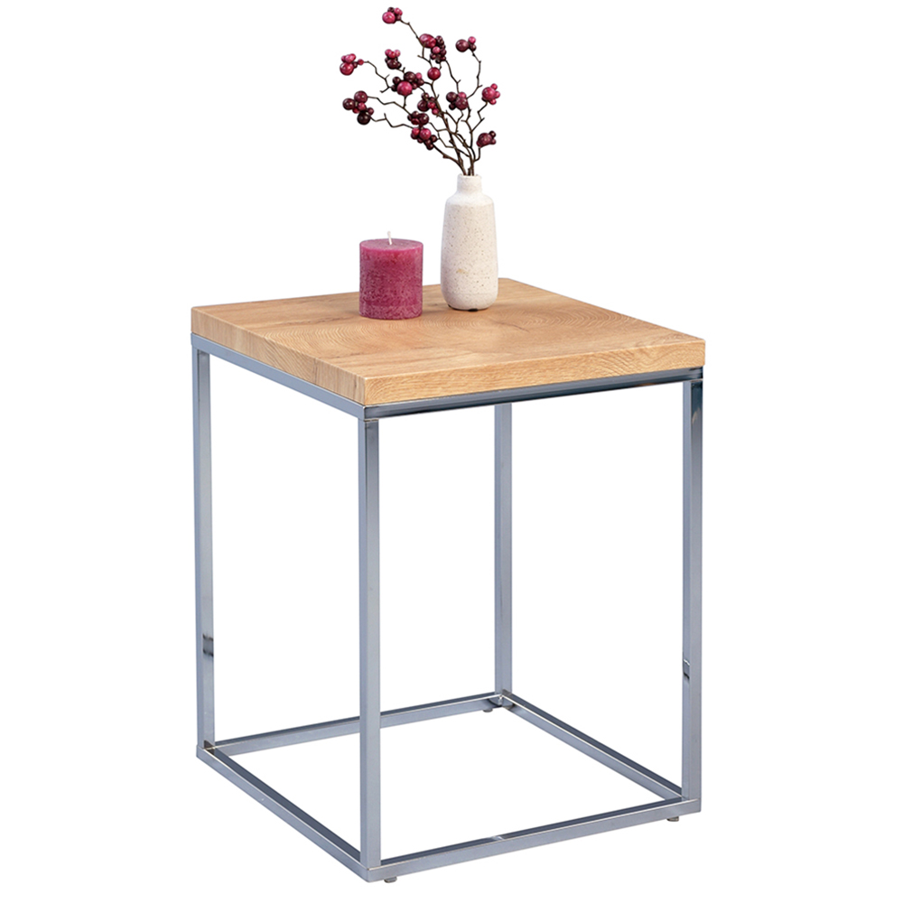 Odkládací stolek Olaf, 40 cm, dub/chrom