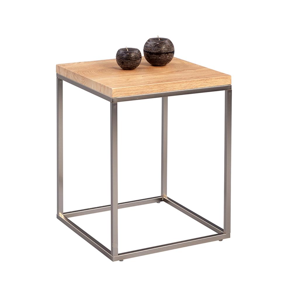 Odkládací stolek Olaf, 40 cm, dub/nerez