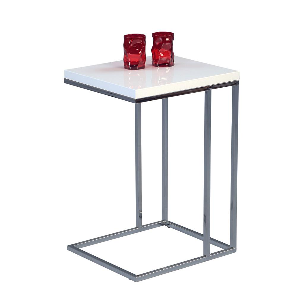 Odkládací stolek Ragnar, 43 cm, bílá/chrom