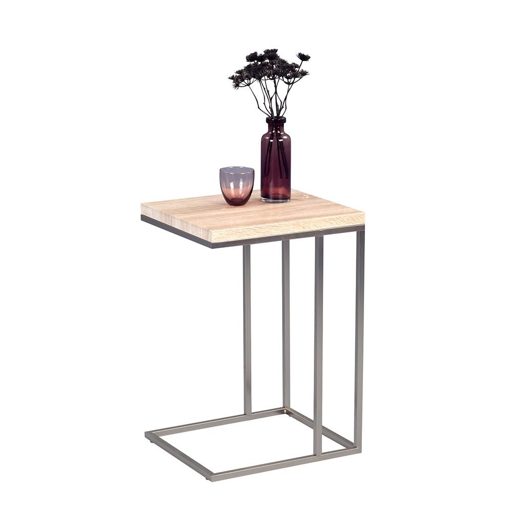 Odkládací stolek Ragnar, 43 cm, Sonoma dub/nerez
