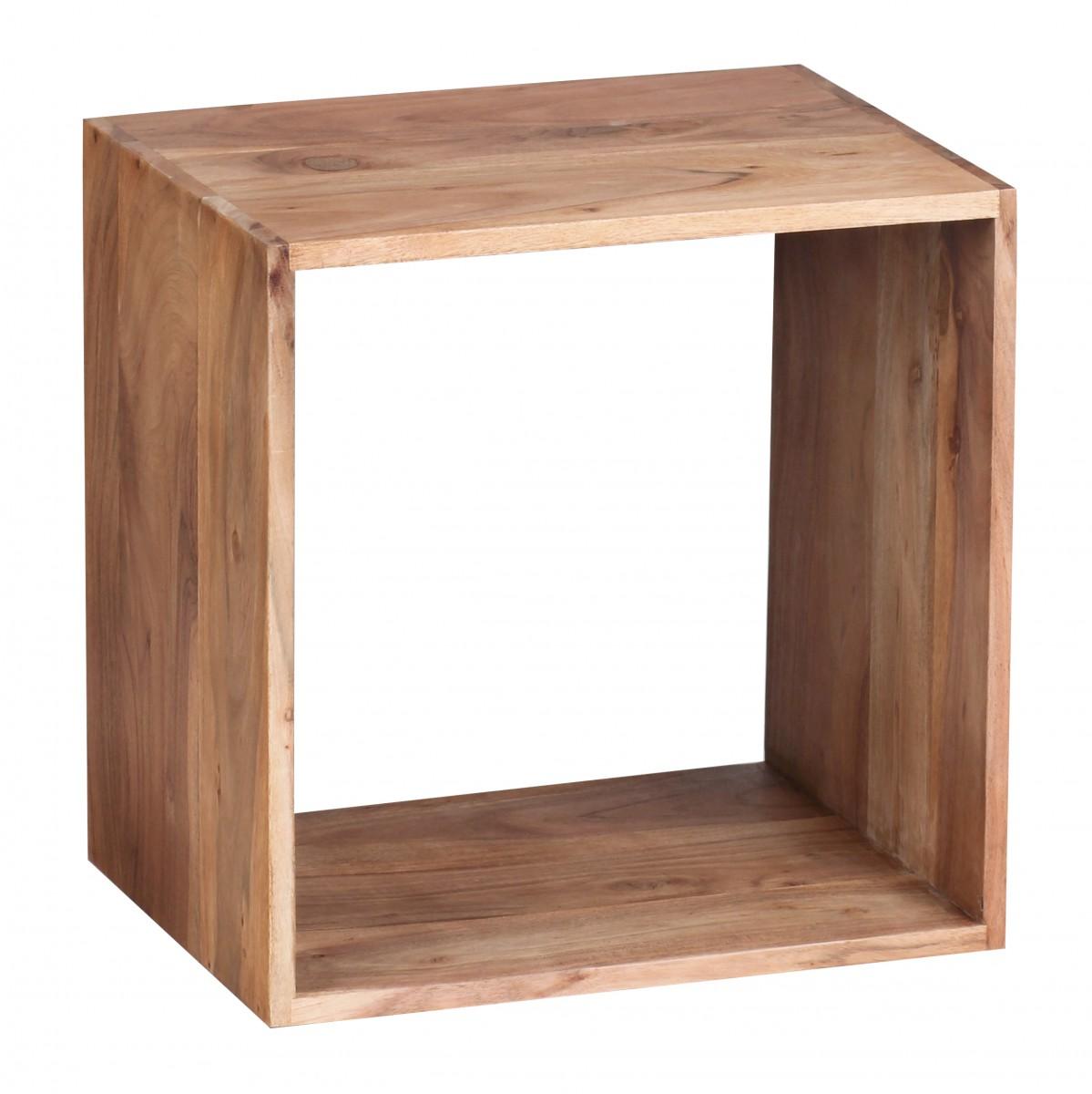 Odkládací stolek / regál Mumbai cube, 43,5 cm, masiv akát