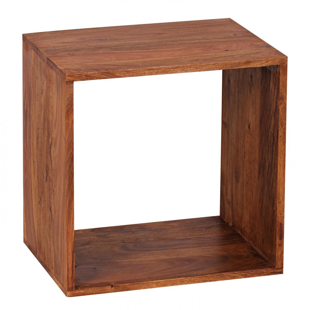 Odkládací stolek / regál Mumbai cube, 43,5 cm, masiv Sheesham