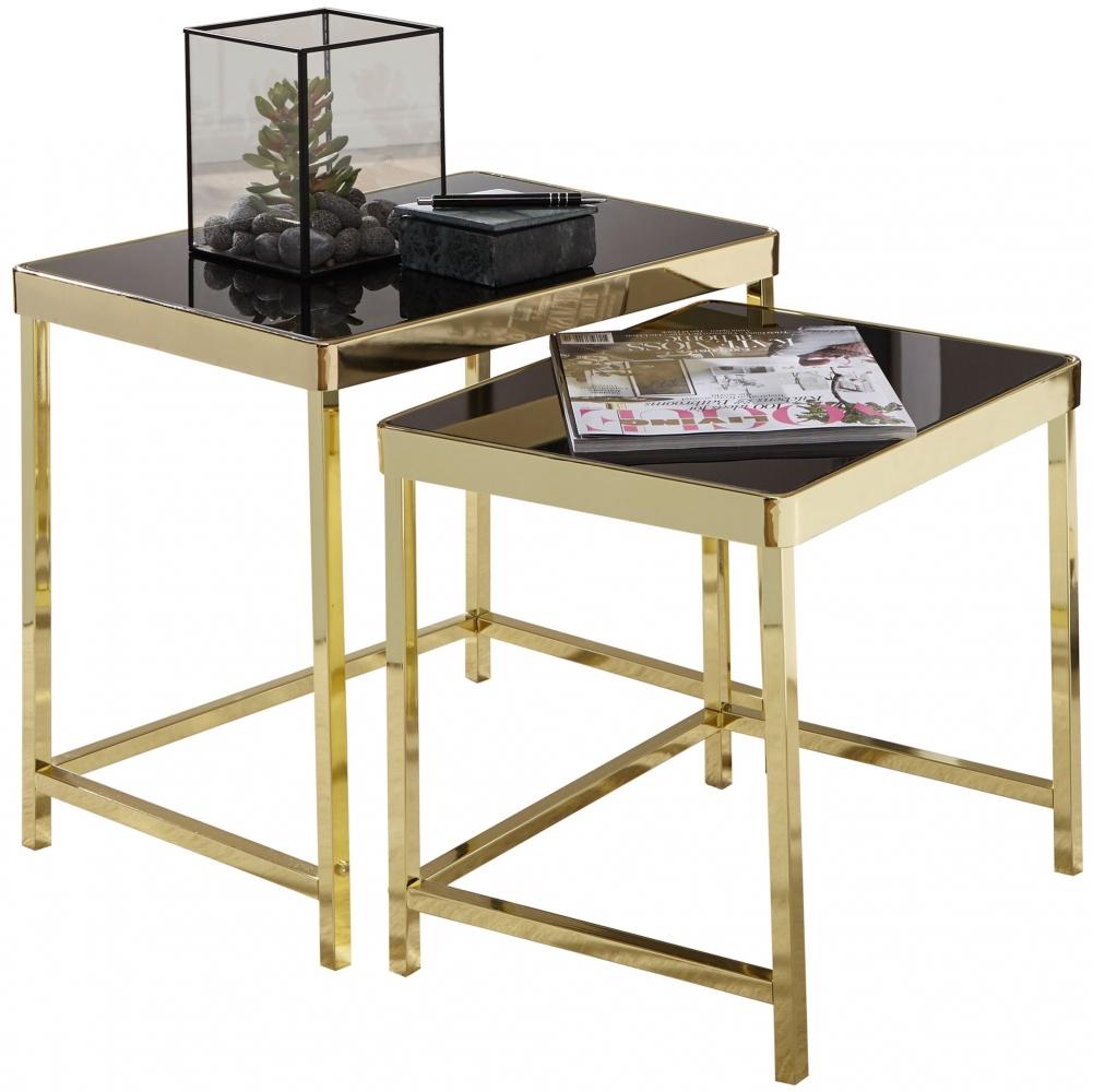 Odkládací stolek Rida (SADA 2 ks), černá / zlatá