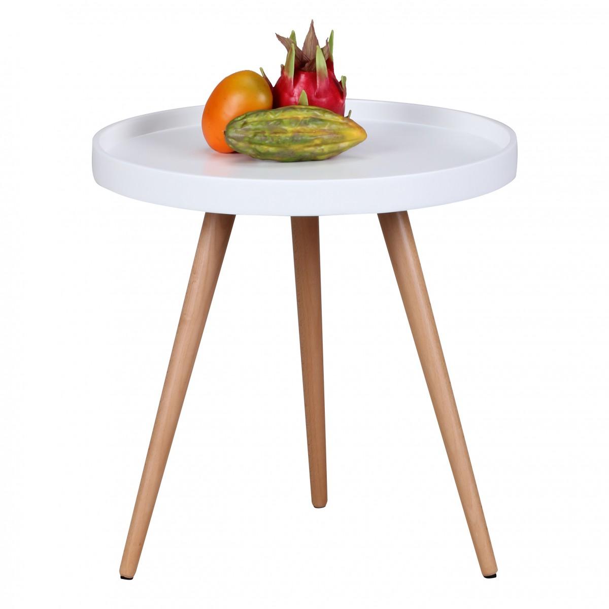 Odkládací stolek Scanio, 50 cm, bílá/buk