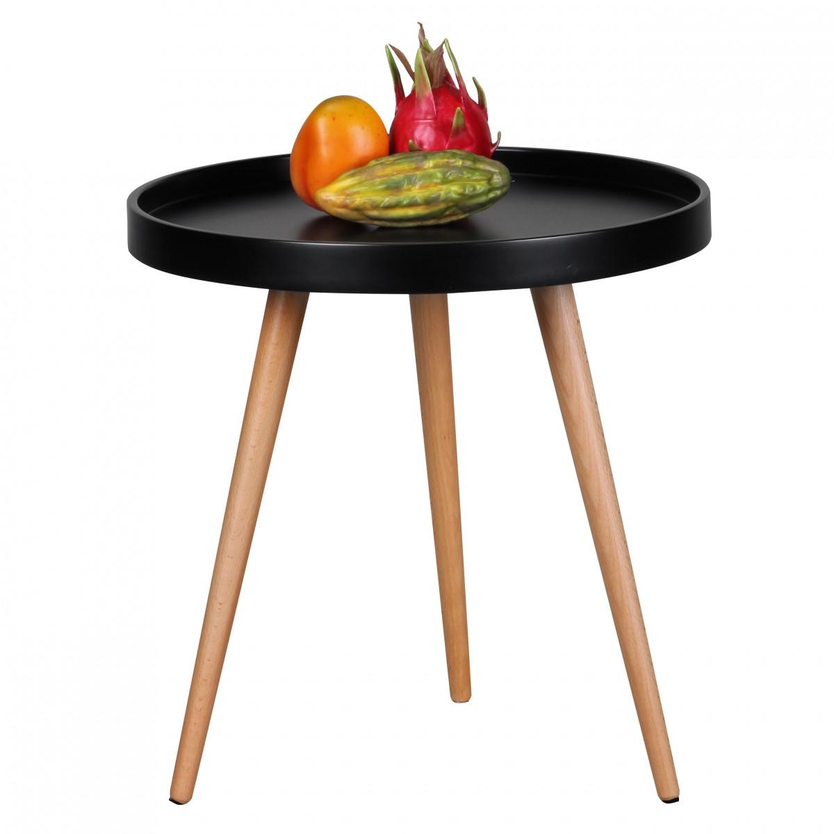 Odkládací stolek Scanio, 50 cm, černá/buk
