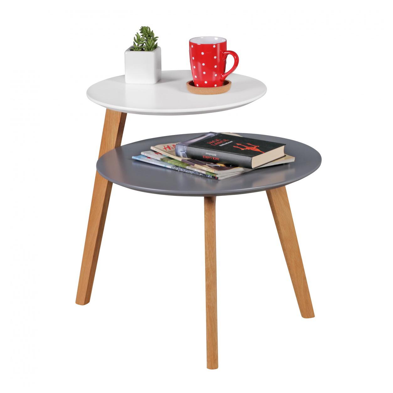 Odkládací stolek Scanio s 2 úrovněmi, 61 cm, bílá/šedá