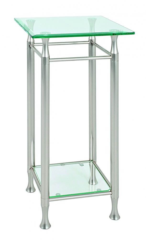 Odkládací stolek Simeon, 72 cm, čirá / nerez