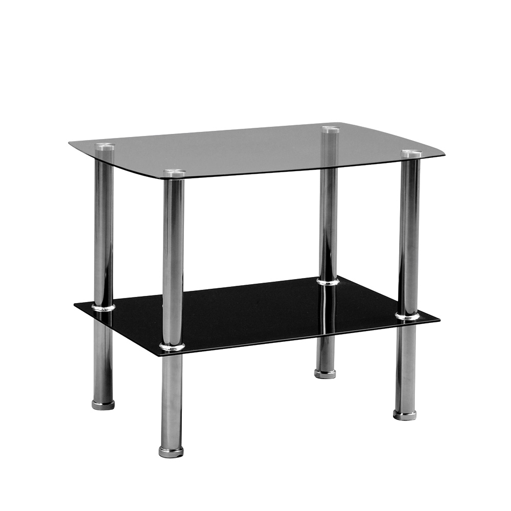 Odkládací stolek skleněný Zoom, 65 cm, čiré/černé sklo