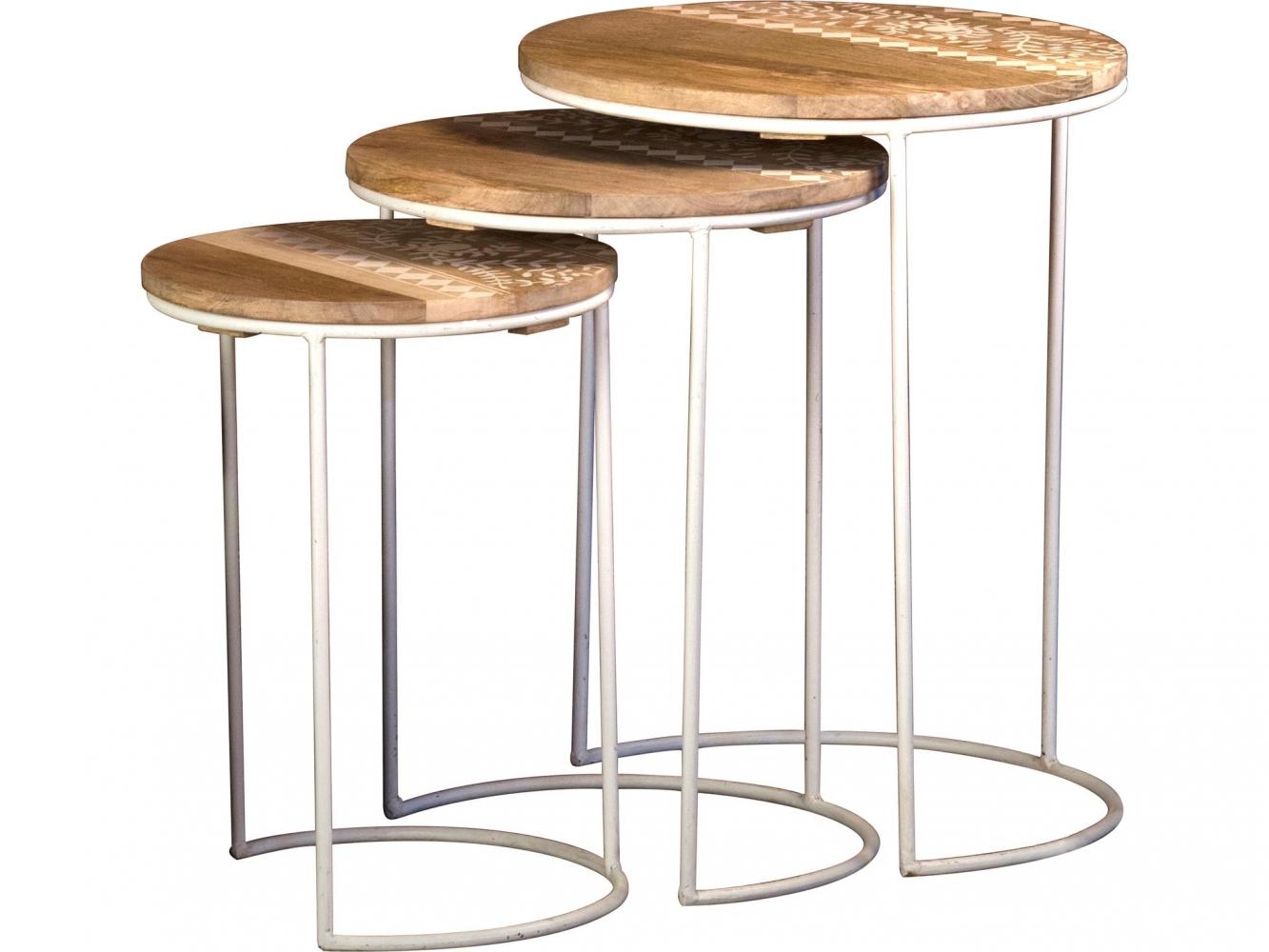 Odkládací stolek Sophi (SADA 3 ks), 45 cm, hnědá / bílá