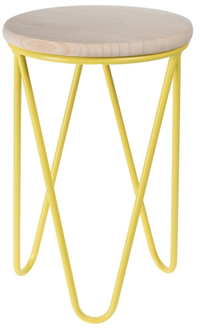 Odkládací stolek / stolička Symfoni, 30 cm, žlutá