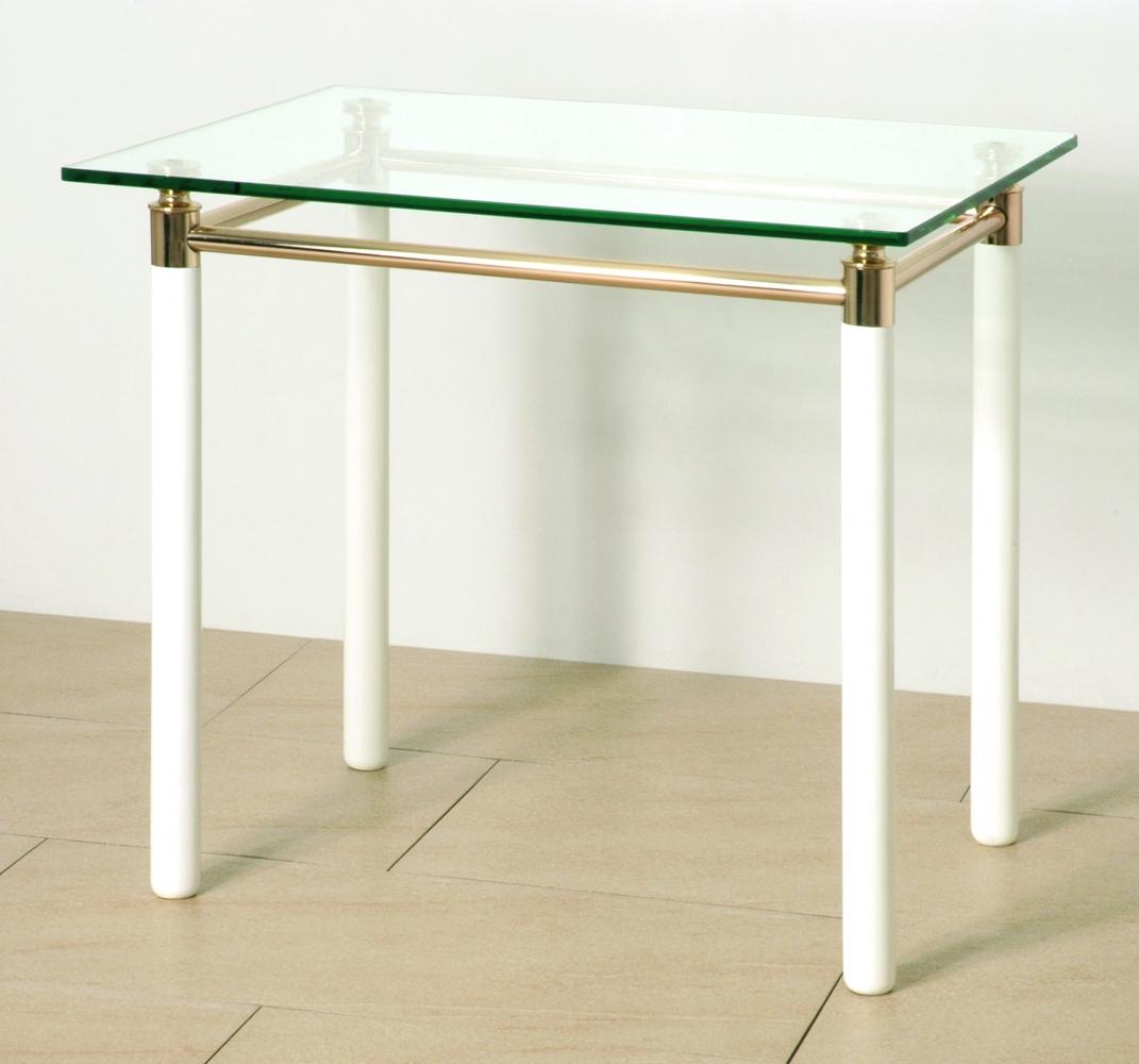 Odkládací stolek Terrell, 74 cm, bílá / zlatá