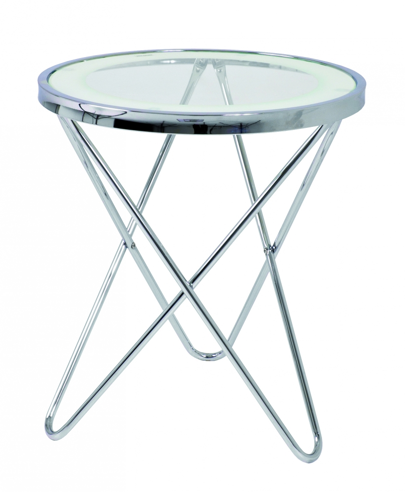 Odkládací stolek Travis, 50 cm, čirá / chrom