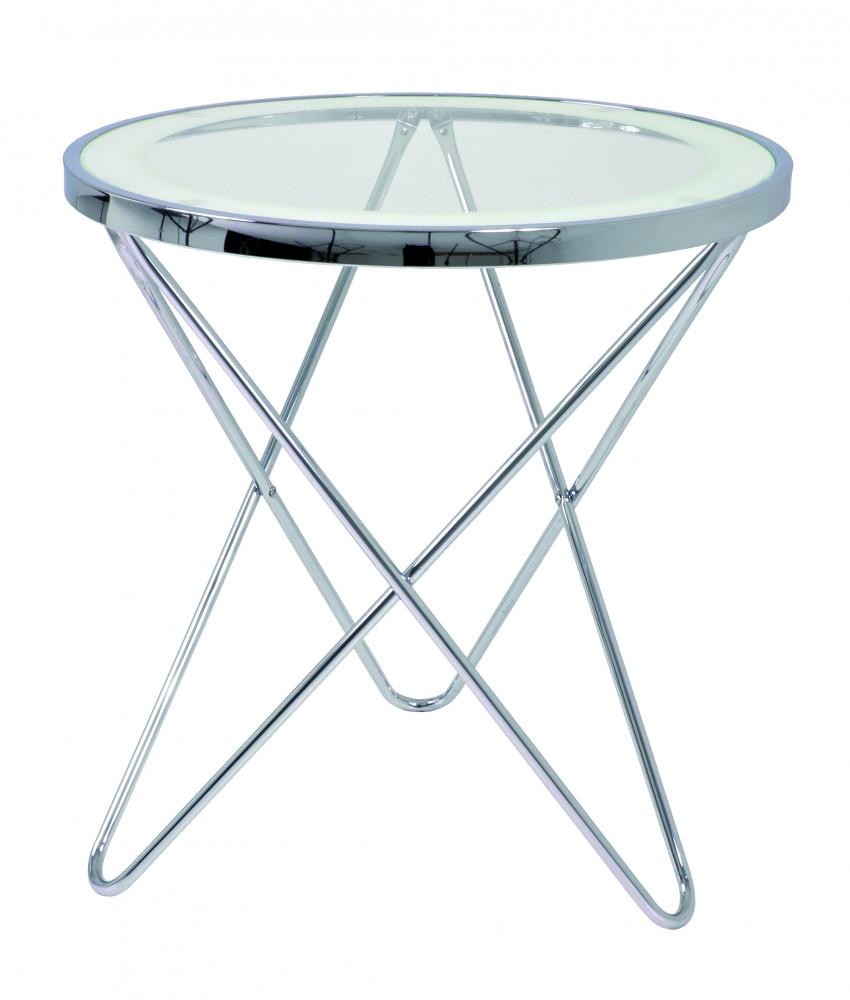 Odkládací stolek Travis, 56 cm, čirá / chrom
