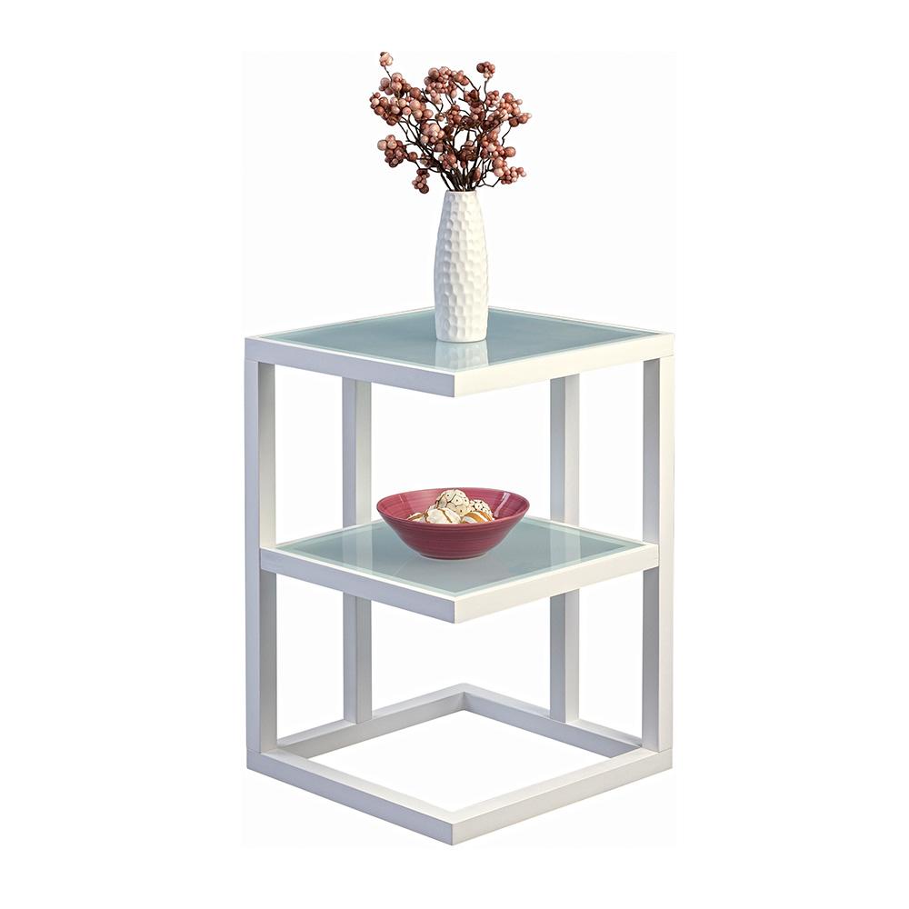 Odkládací stolek Urban, 40 cm, bílá/sklo