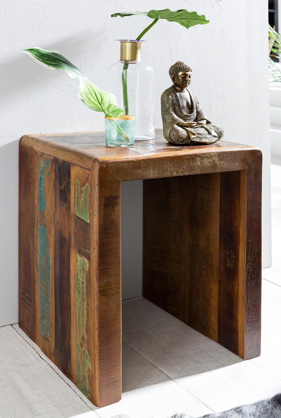 Odkládací stolek z recyklovaného dřeva Kalkutta, 45x55 cm, mango