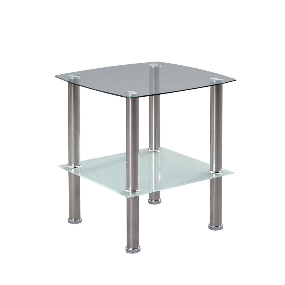 Odkládací stolek Zoom, 45 cm, čiré/pískované sklo
