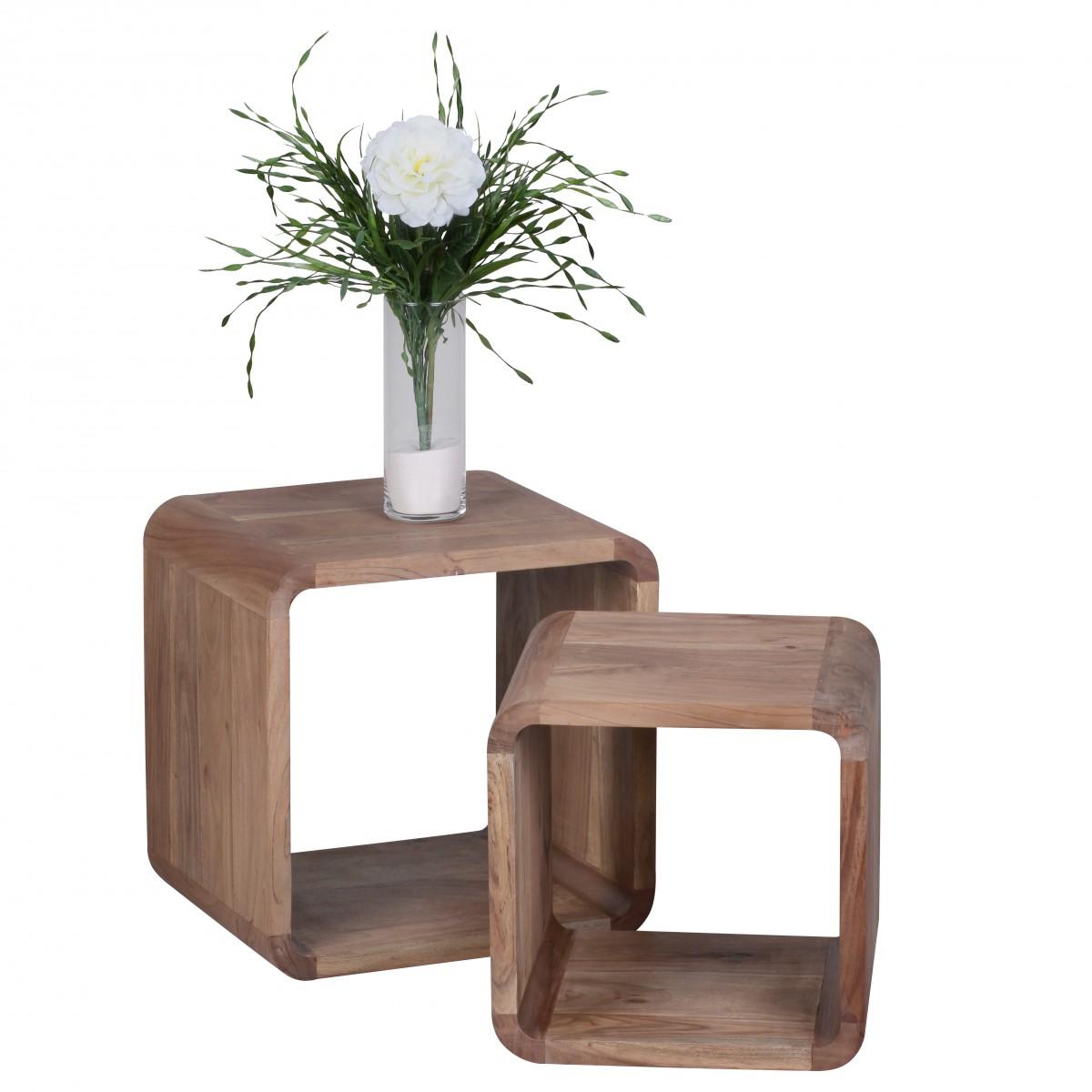 Odkládací stolky Boha, 43 cm, sada 2 ks, masiv akát