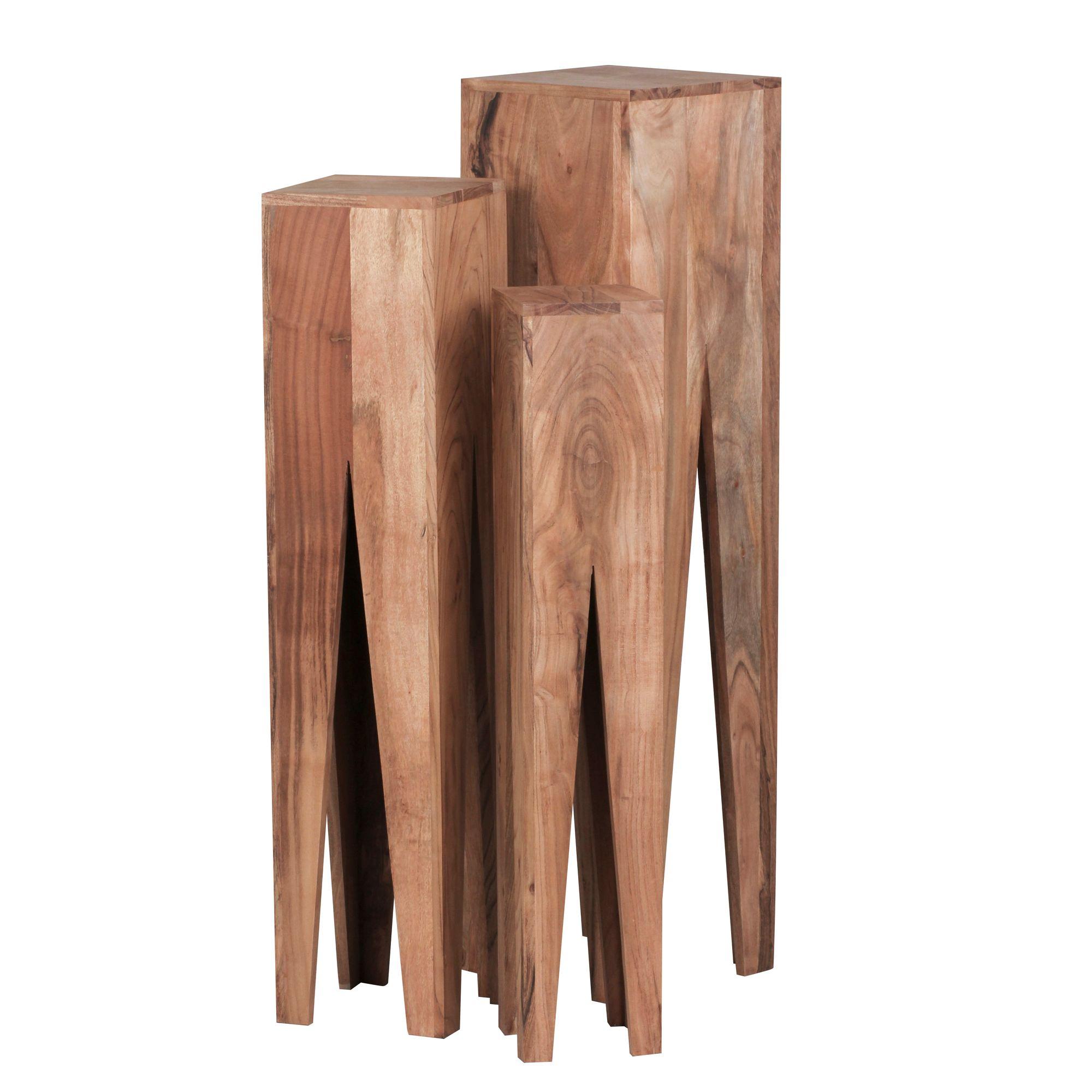 Odkládací stolky Kada, 100 cm, sada 3 ks, masiv akát
