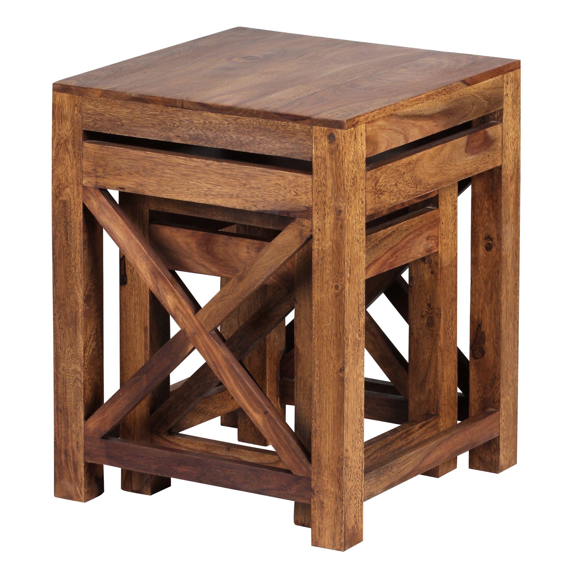 Odkládací stolky Pali, 40 cm, sada 2 ks, masiv Sheesham