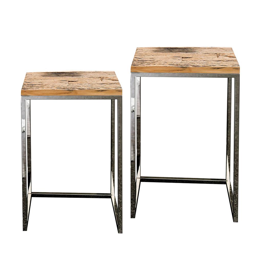 Odkládací stolky z recyklovaného dřeva Woodsen, sada 2 ks