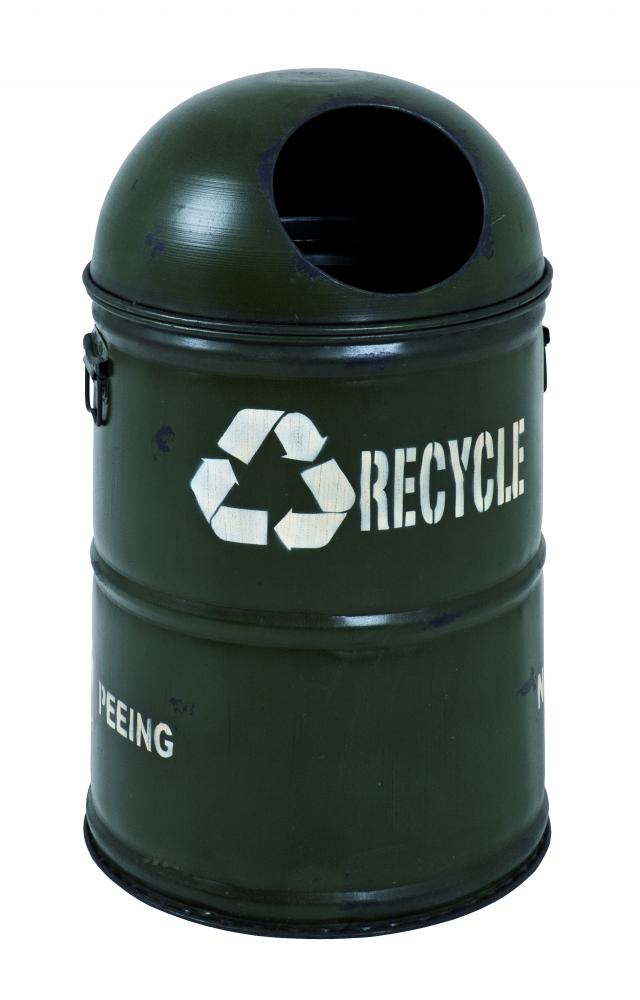 Odpadkový koš Recyklo, 55 cm, černá / bílá