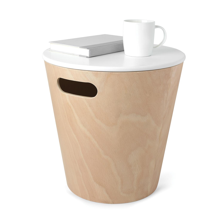Odpadkový koš s víkem Andreas, dřevo/bílá