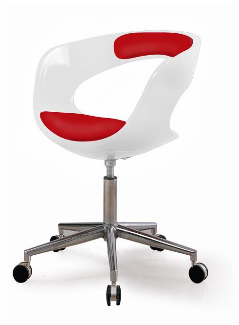 Otočné kreslo na kolieskach Carla (SET 2 ks) biela / červená, biela / červená