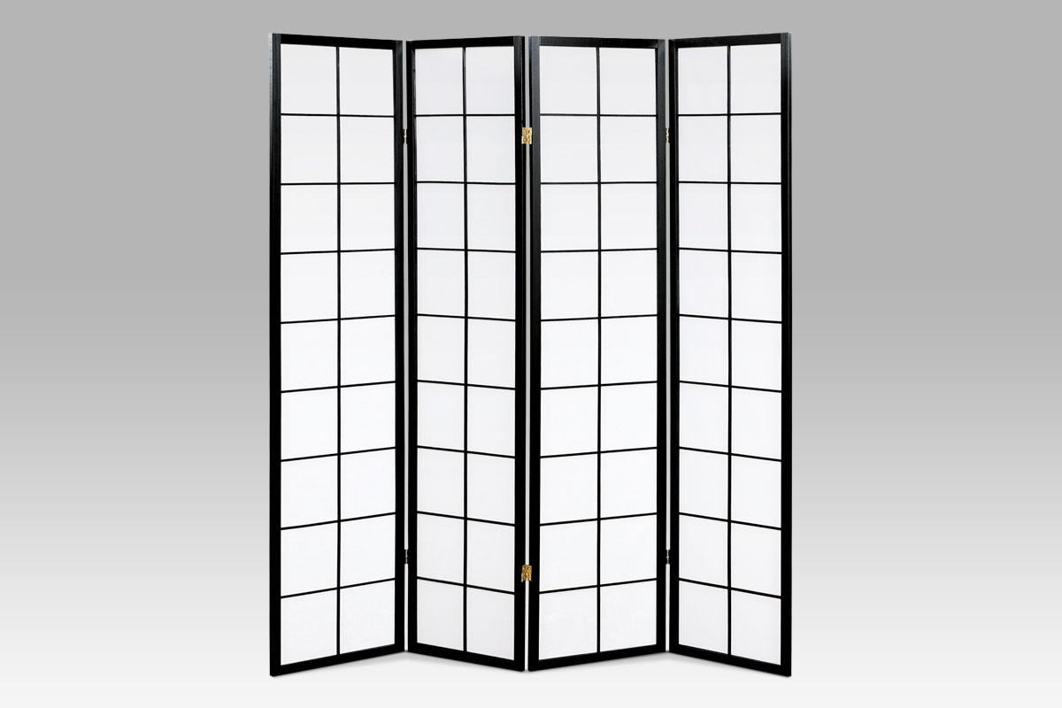 Paraván 4dílný Pablo, 179x174 cm, černá
