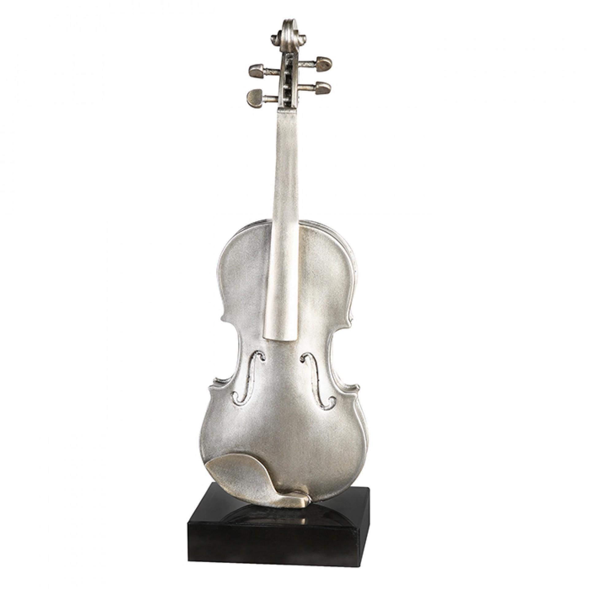 Plastika Violine na mramorovém podstavci, 65 cm, stříbrná/champagne