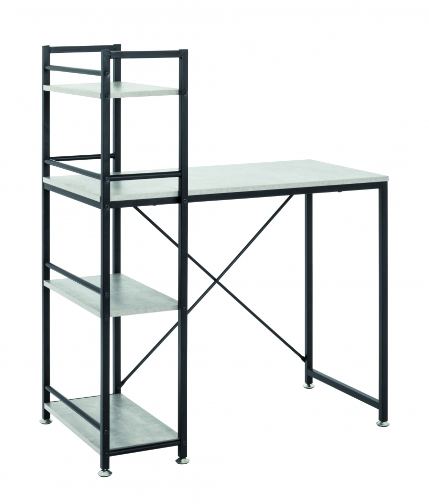 Počítačový stůl s integrovanou policí Vickie, 114 cm, beton/černá