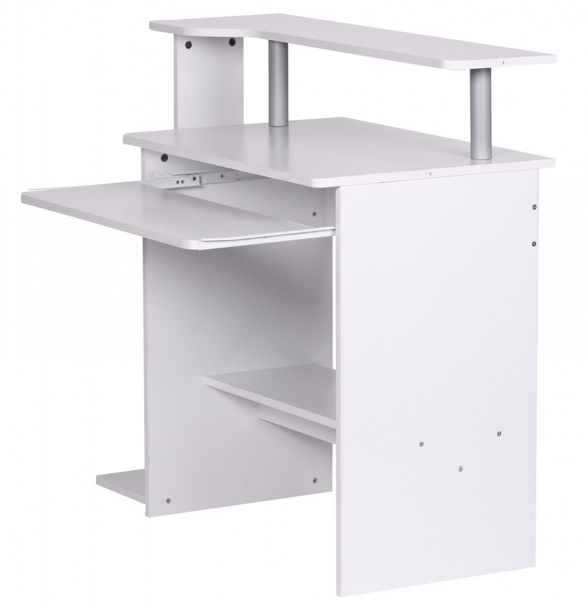 Počítačový stůl s výsuvnou klávesnicí Daren, 94 cm, bílá