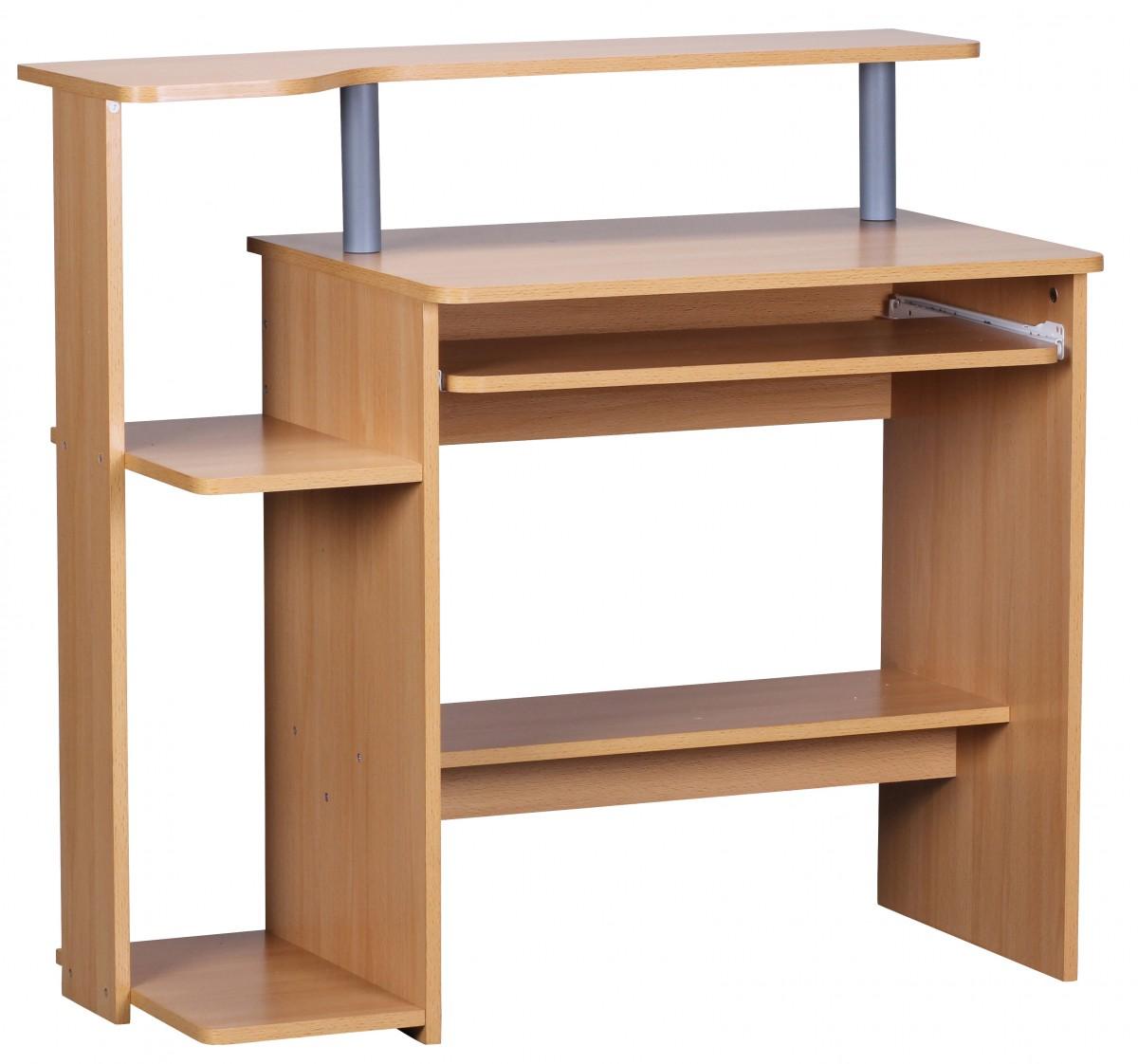 Počítačový stůl s výsuvnou klávesnicí Daren, 94 cm, buk