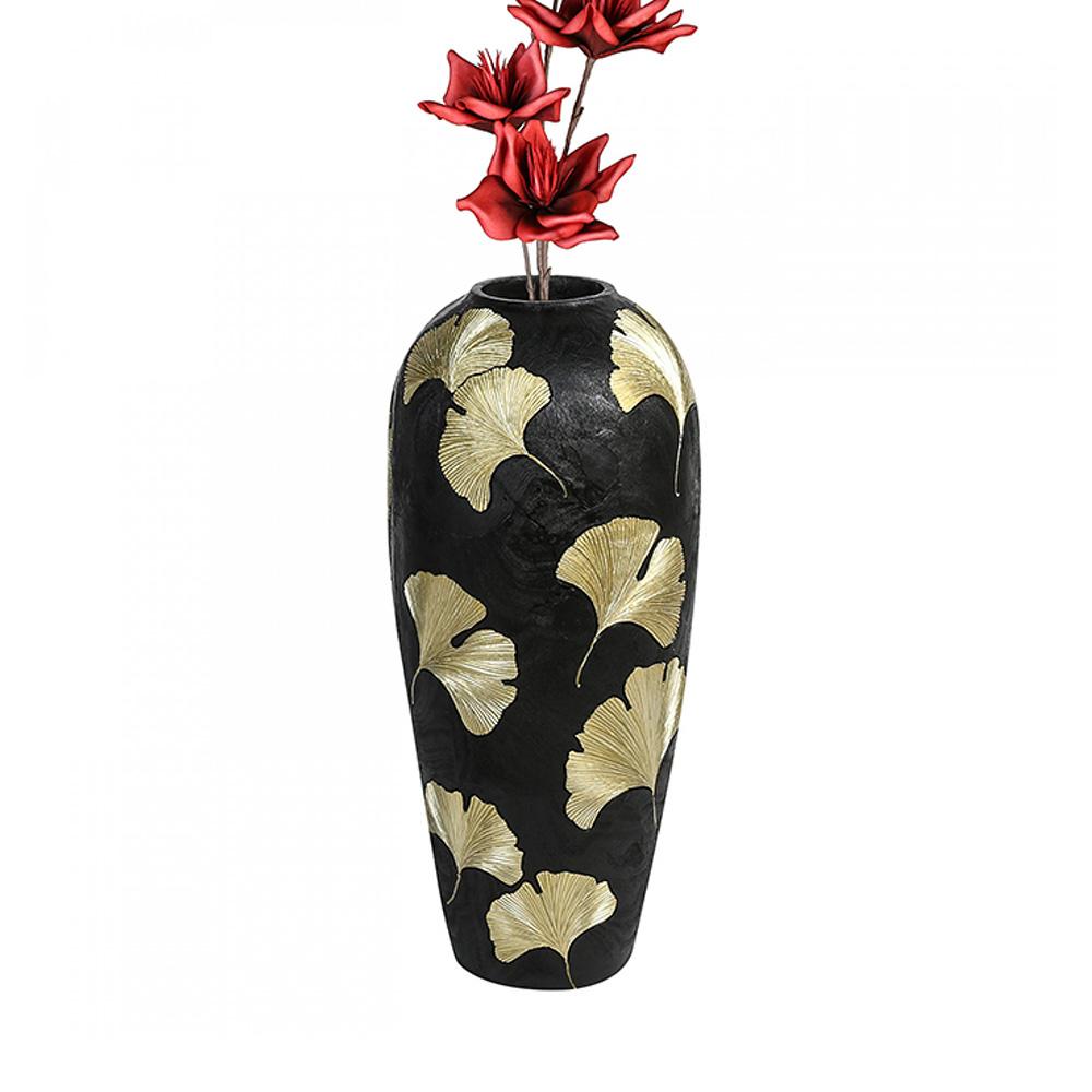 Podlahová váza Ginkgo, 74 cm, černá/zlatá
