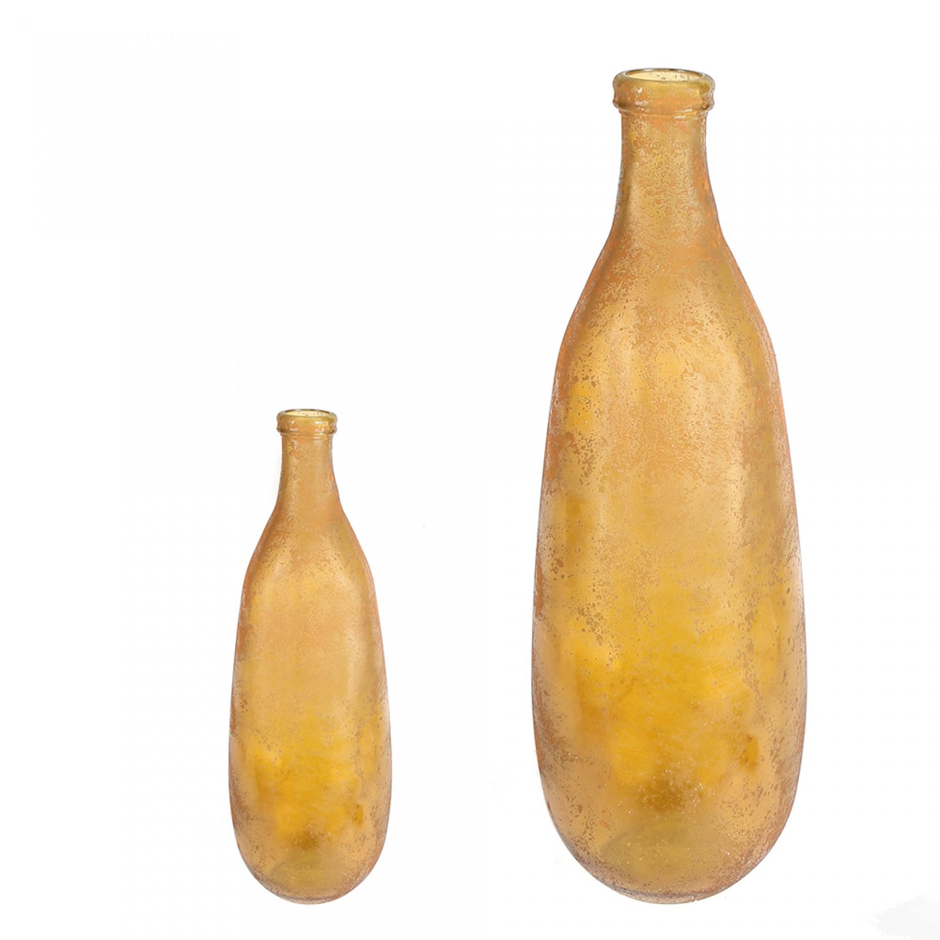 Podlahová váza z recyklovaného skla Schiras, 74 cm, curry