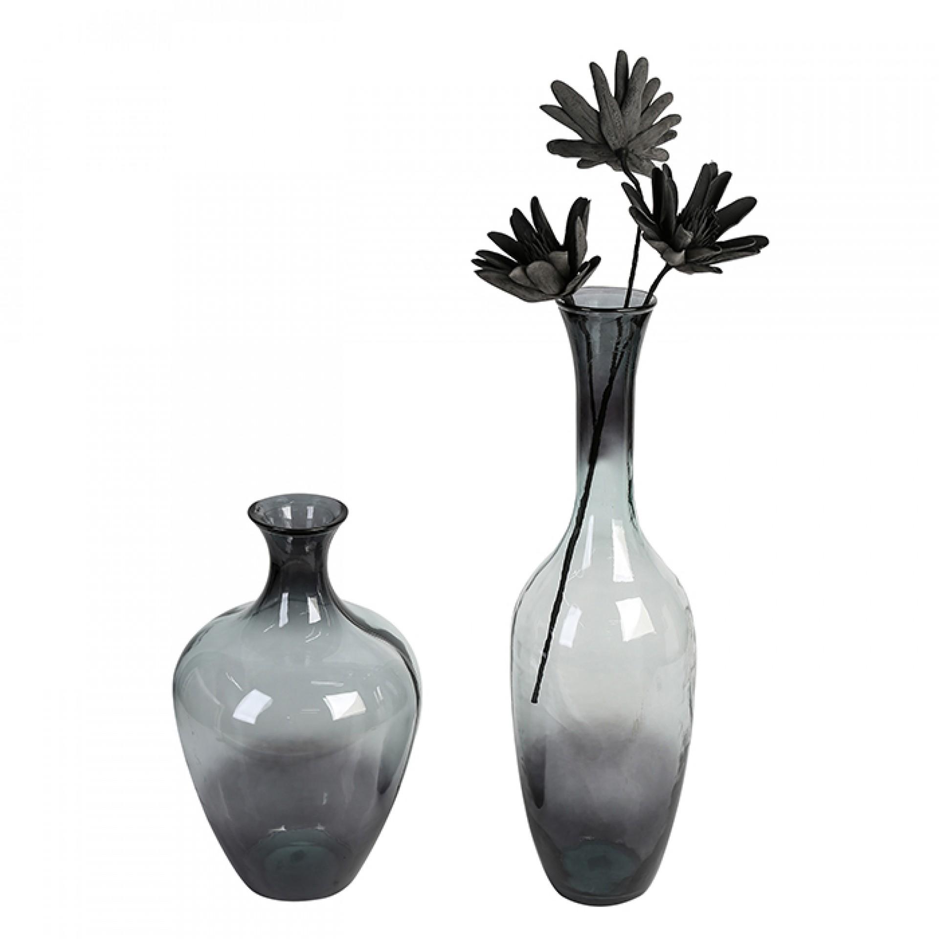 Podlahová váza z recyklovaného skla Velico, 66 cm, šedá