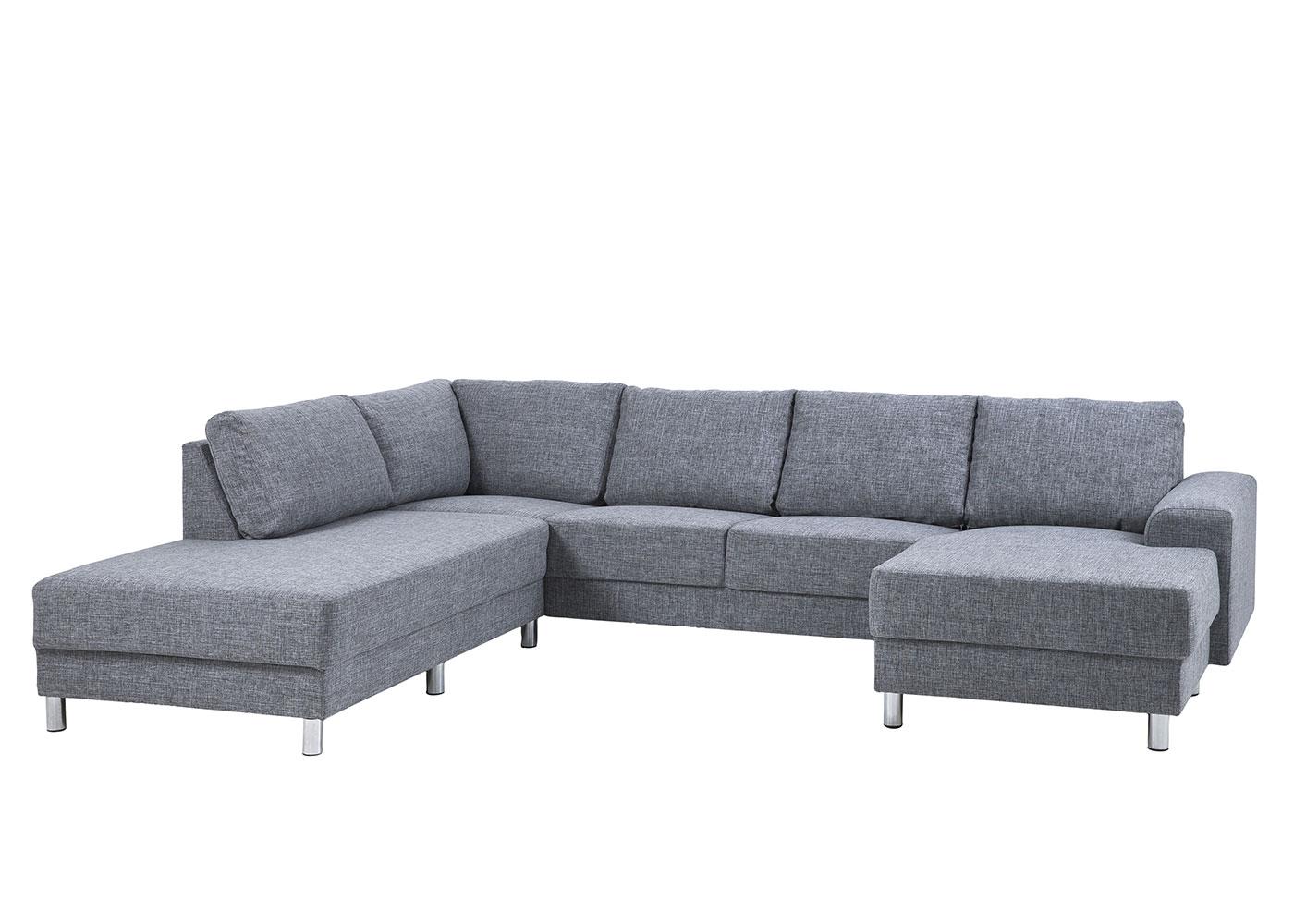 Pohovka rohová levá s lehátkem Carlton, 286 cm, šedá