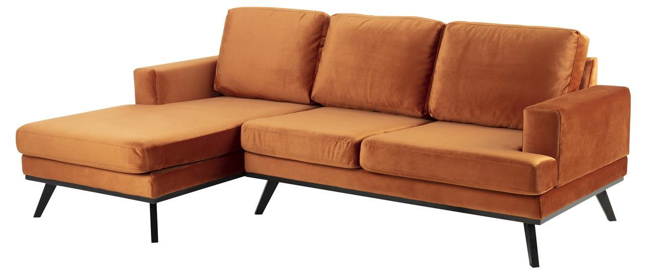 Pohovka rohová levá Scandia, 233 cm, oranžová