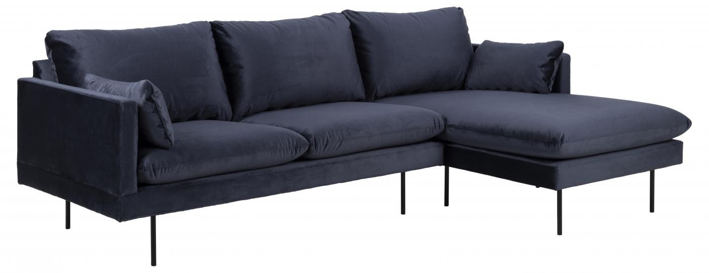 Pohovka rohová pravá Leo, 242 cm, tm. modrá