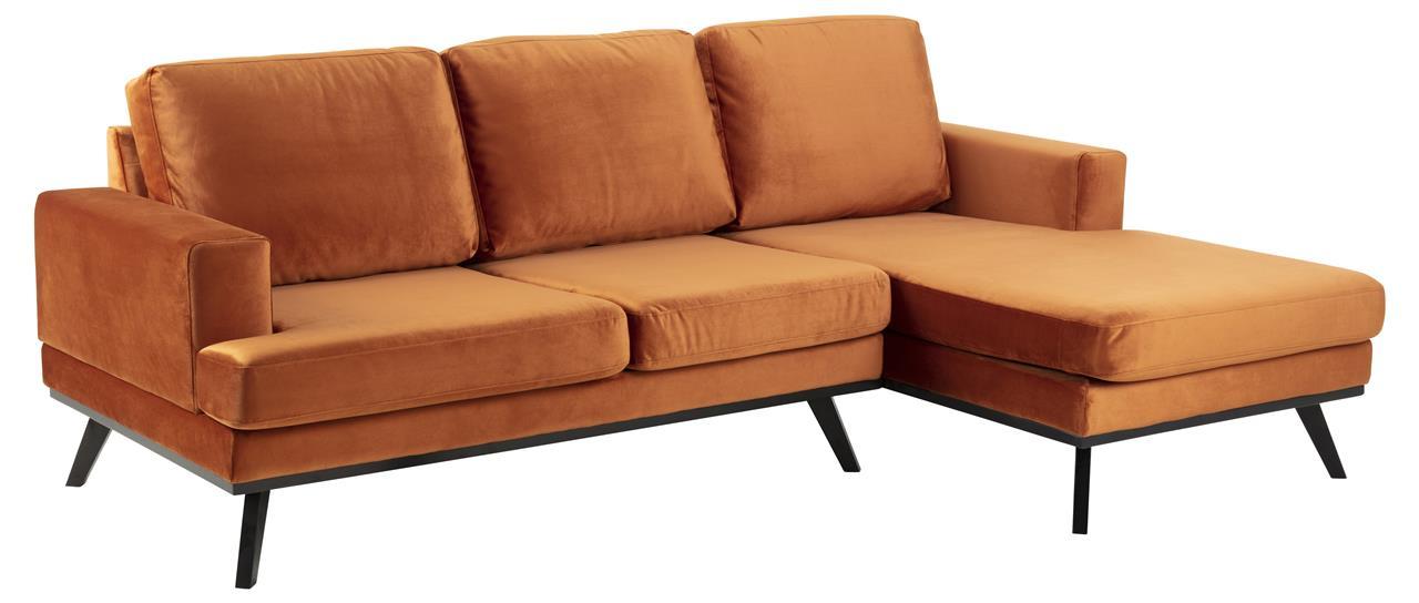 Pohovka rohová pravá Scandia, 233 cm, oranžová