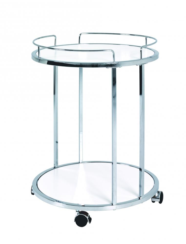 Pojízdný servírovací stolek Clay, 60 cm, chrom/bílá