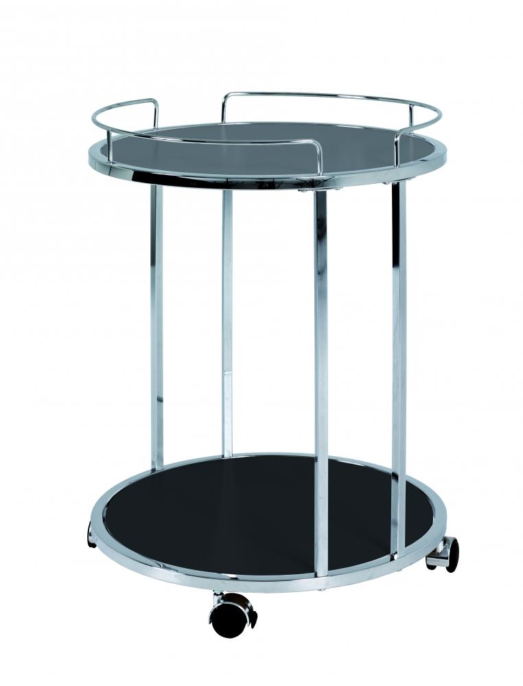 Pojízdný servírovací stolek Clive, 60 cm, chrom/černá