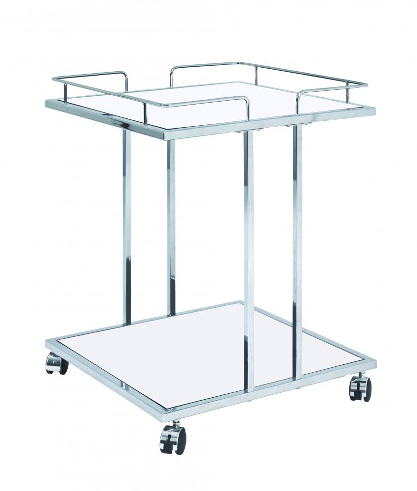 Pojízdný servírovací stolek Clyde, 60 cm, chrom/bílá