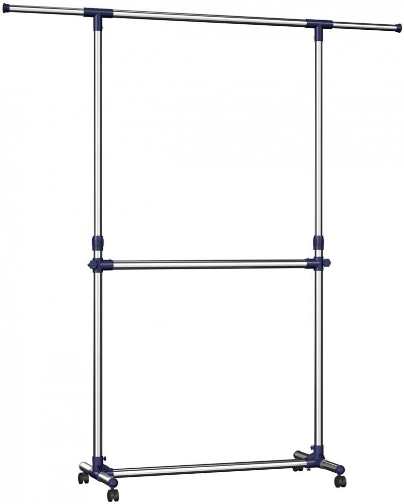 Pojízdný stojan Saimon, 198 cm, stříbrná / modrá