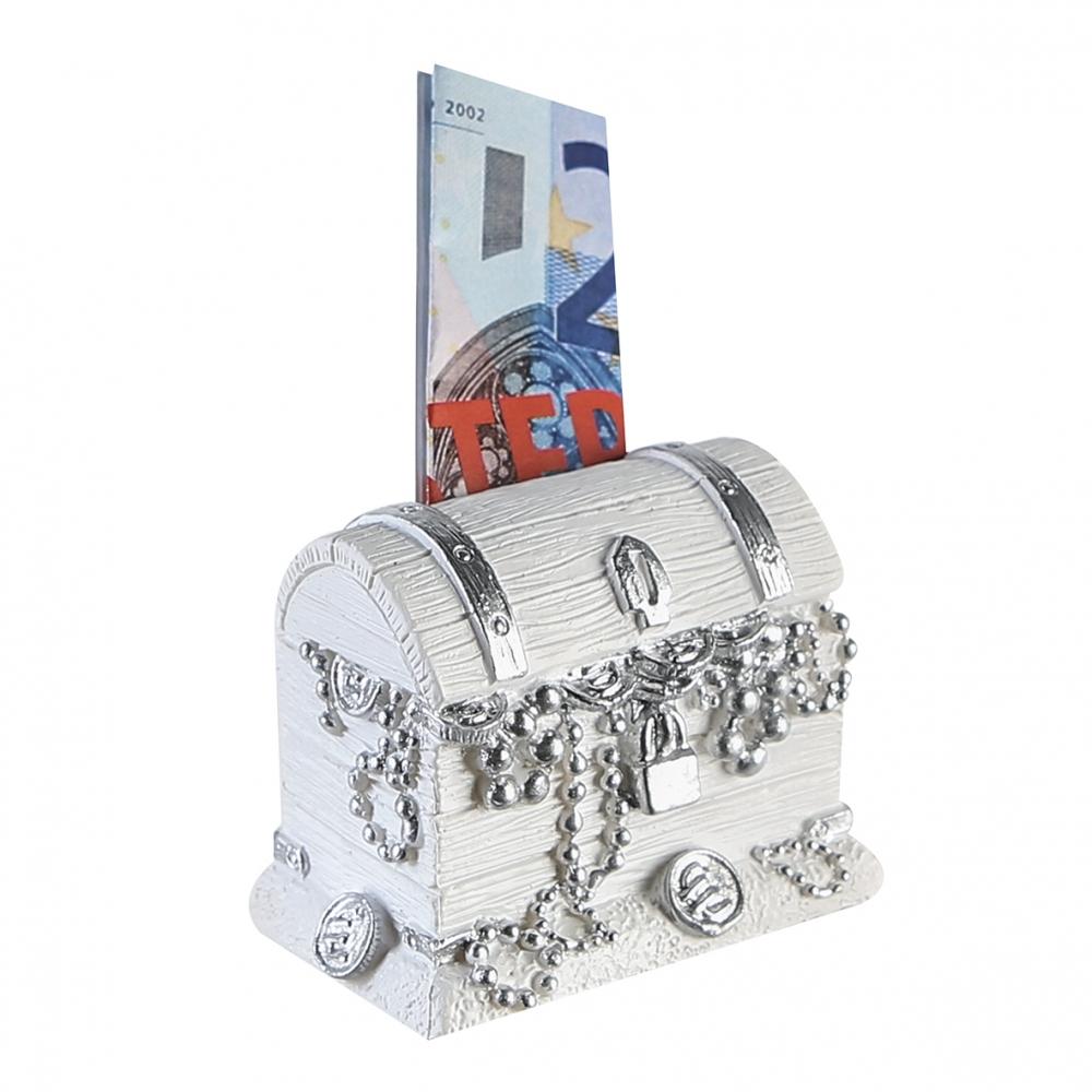 Pokladnička Chest, 5,5 cm, bílá / stříbrná