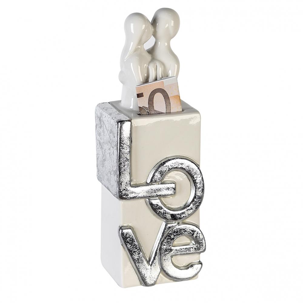 Pokladnička Love, 19 cm, bílá / stříbrná